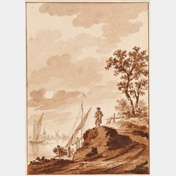 Dirk Kuipers (Dutch, 1733-1796)      Figure by a Road in a River Landscape with Shipping Nearby
