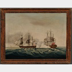 After Francis Holman (British, 1729-1790) East India Companys ship Bridgewater Successfully Defending Her Cargo From Attack by the Ame