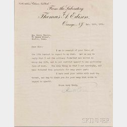 Edison, Thomas Alva (1847-1931) Typed Letter Signed, Orange, New Jersey, 14 February 1914.