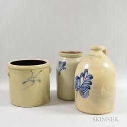 Three Cobalt-decorated Stoneware Vessels