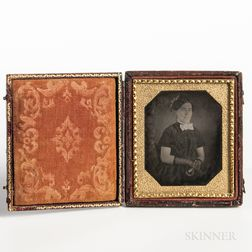 Sixth-plate Daguerreotype of a Seated Woman Wearing Lace Gloves