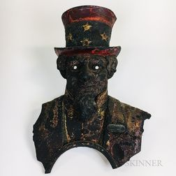 Polychrome Cast Iron Facade of a Coin-operated Uncle Sam