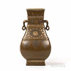 Teadust-glazed Vase with Gilt Decoration