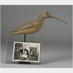 Carved Wooden Curlew Shorebird Decoy