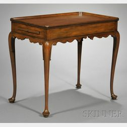 Queen Anne-style Mahogany Carved Tea Table