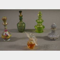 Four Victorian Perfume Bottles and a Modern Lalique for Nina Ricci Perfume Bottle