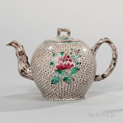 Staffordshire Salt-glazed Stoneware Teapot and Cover