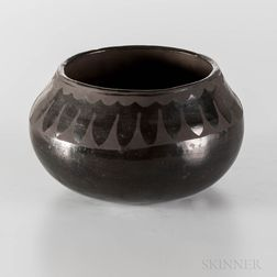 Contemporary San Ildefonso Blackware Pottery Bowl