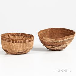 Two Northwest California Polychrome Basketry Hats