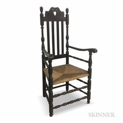 Black-painted Bannister-back Crown and Heart Armchair