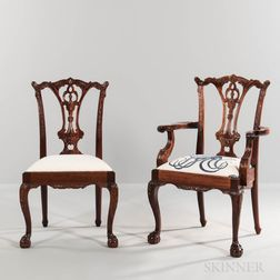 Set of Eight Georgian-style Carved Mahogany Dining Chairs