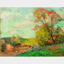 Robert Henry Logan (American, 1874-1942)      Three Landscapes: Winter Road; Spring Meadow; Summer Stream