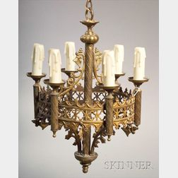 Pair of Gothic Revival Gilt Metal Six Light Hall Chandeliers