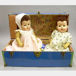 "Two American Hard Plastic ""Tiny Tears"" Dolls and Trunks"