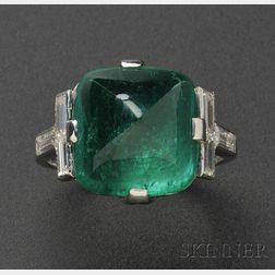 Art Deco Platinum, Emerald, and Diamond Ring, Raymond Yard