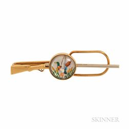 14kt Gold and Reverse-painted Crystal Duck Hunting-themed Tie Bar