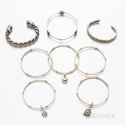 Eight Silver Bracelets