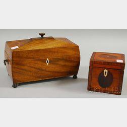 Inlaid Satinwood Veneer Tea Caddy and an Inlaid Mahogany Casket-form Box
