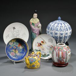 Seven Porcelain Items and Wood Stands