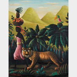 Orville Bulman (American, 1904-1978)      Woman Walking Beside a Tiger