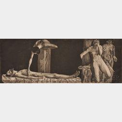 Käthe Kollwitz (German, 1867-1945)      Two Figural Works:  Sitzender männlicher Akt