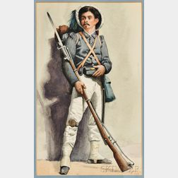 A. Butler (American, 19th Century)      Italian Soldier with Plumed Hat