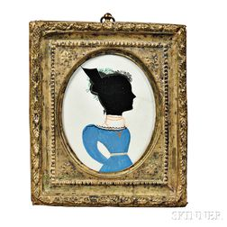 Hollow-cut Silhouette of a Lady in a Blue Dress