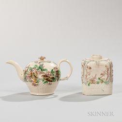 Two Staffordshire Lead-glazed Creamware Tea Ware Items