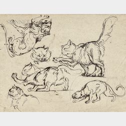 Circle of Eugène Delacroix (French, 1798-1863)      Studies of Cats and Lions/Two Goats: A Double-sided Sketch