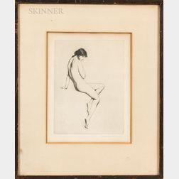 Three Framed Prints:      Warren B. Davis (American, 1865-1928), Seated Nude, Profile View