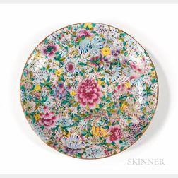 Millefleur Enameled Porcelain Plate