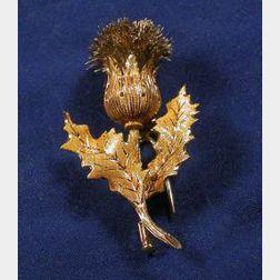 18kt Bi-color Gold Thistle Brooch