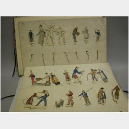 Marbled Folio with Handmade Theatrical Figures
