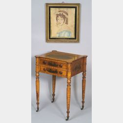 "Federal Academy Painted Tiger Maple Work Table, together with a portrait ""Imogine"""