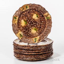 Fourteen Don Carpentier Molded Dot, Diaper, and Basketweave Pattern Tortoiseshell-glazed Dinner Plates