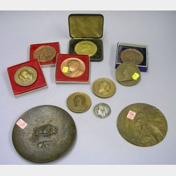 Nine Assorted Medals, a Bronze Dish and a Plaque