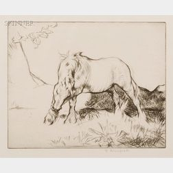 Lot of Three Prints:      Edmund Blampied (British, 1886-1966), White Horse