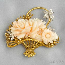 18kt Gold, Carved Coral, and Diamond Brooch