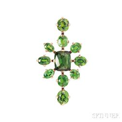 14kt Gold, Tourmaline, and Demantoid Garnet Brooch