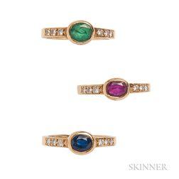 Three 18kt Gold Gem-set Rings