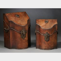 Set of Two George II Mahogany and Inlaid Cutlery Boxes