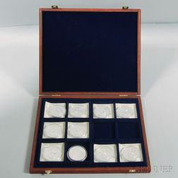 Nine American Mint Silver Coins and Commemorative Rounds