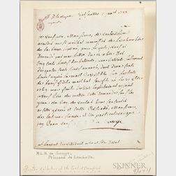 Marie Thérèse Louise of Savoy, Princesse de Lamballe (1749-1792) Letter Signed, Versailles, 3 January 1788.