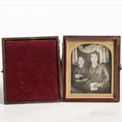 Sixth-plate Daguerreotype of a Mother and Daughter