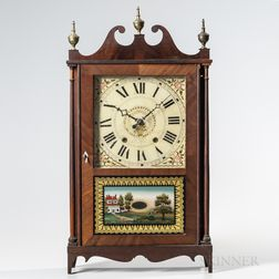 Lucius Bradley Mahogany Pillar and Scroll Clock