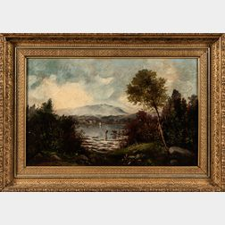 Hudson River School, Late 19th Century      River Scene with Mountains