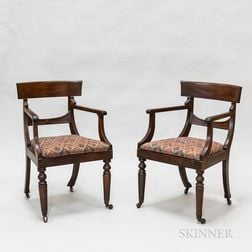 Pair of Regency Carved Mahogany Armchairs
