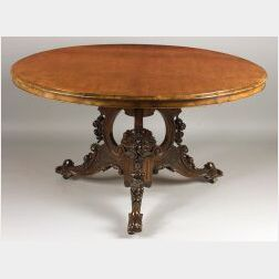 Early Victorian Burl Walnut and Walnut Circular Center Table