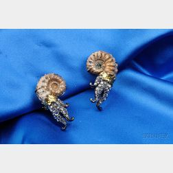 18kt Gold, Ammonite, and Diamond Earclips, Lotus Arts de Vivre