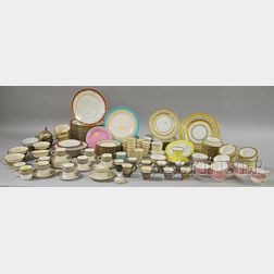 Approximately 136 Pieces of Gilt and Transfer Decorated Porcelain Tableware and   Seventeen Sterling Silver Soup and Demitasse Frames